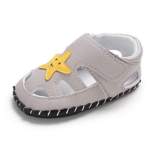 Geagodelia Baby Sandalen Weicher Lauflernschuhe Hausschuhe für Kleinkind Junge Mädchen mit Modern Sterne Muster (6-12 Monate, Hellgrau)