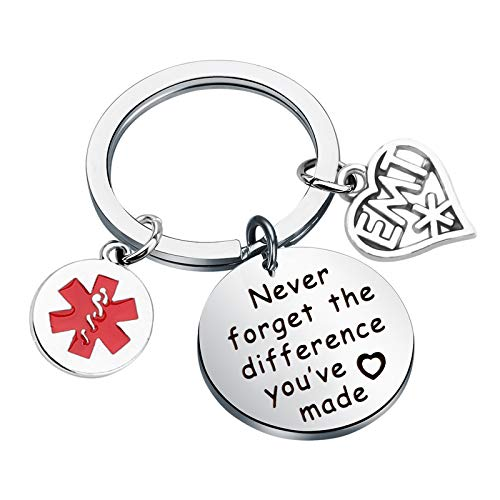 MYOSPARK EMT Keychain Emergency Medical Technician Gift Never Forget The Difference You've Made Paramedic Gift Nurse Doctor First Responder (differnece EMT Keychain)