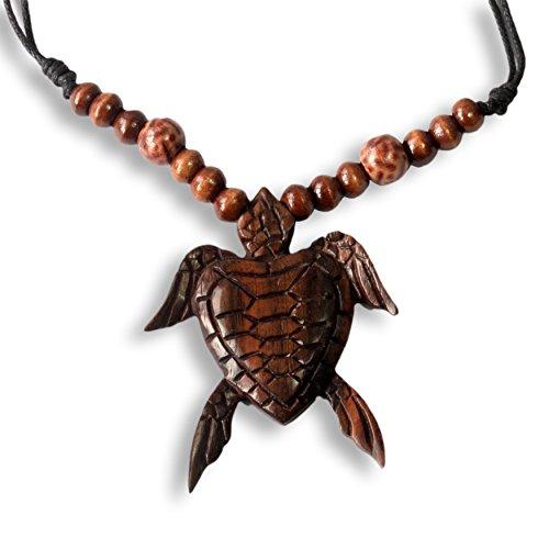 ISLAND PIERCINGS Halskette Anhänger aus Holz Schildkröte Handarbeit längenverstellbar N244