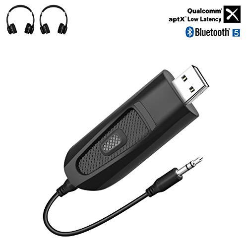 USB Transmisor Bluetooth 5.0 Adaptador de Audio Bluetooth con 3.5 mm AUX cable, aptX Baja Latencia HD 2 Conexiones para TV, PC PS4 MP3/MP4