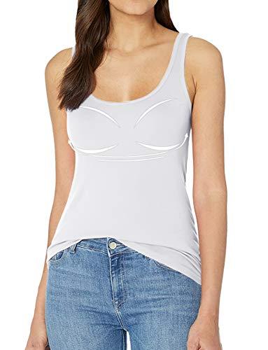 Mujer Camisetas con Sujetador Incorporado Camisetas sin Mangas Mujer Camisetas de Tirante Cómodo Tanktop Lencería Deporte Casual Blanco S
