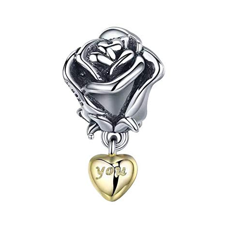 ABAOLA Flowers Charm Rose Charm 925 Sterling Silver Love Charm Valentine's Day Beads for Fashion Charms Bracelet & Necklace (Silver)
