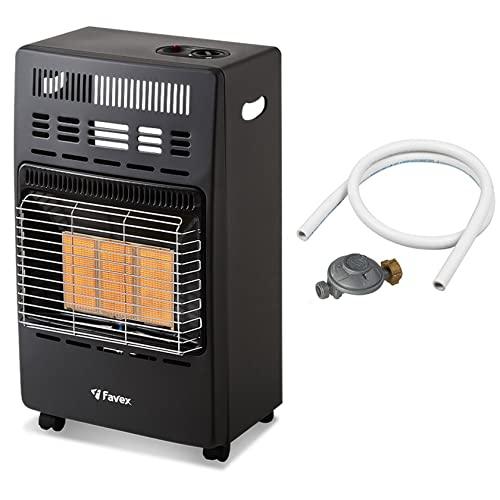 Favex - Chauffage d'appoint gaz 4200 - Prêt à l'emploi livré avec Tuyau et détendeur-Intérieur-Brûleur céramique Infrarouge-3 Puissances de Chauffe-jusqu'à 40 m², Acier, Noir