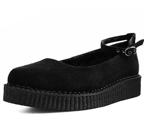 T.U.K. Shoes Damenschwarz Faux, Spitzer Ballettcreme EU41 / UKW8