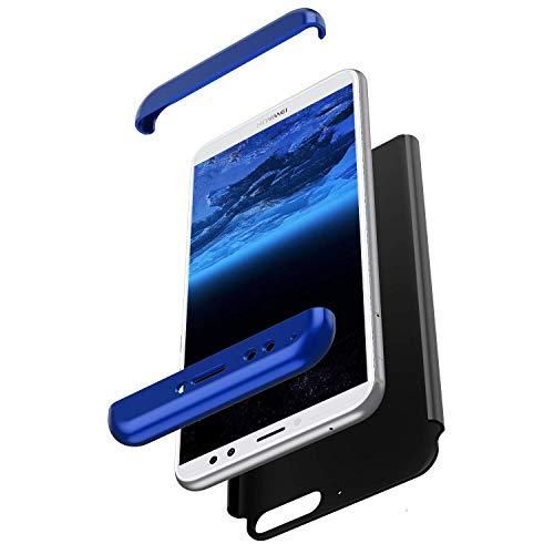 Saceebe kompatibel mit Huawei Honor 7A Hülle PC,Mode Das Ganzkörper Hard PC Schutzhülle Vorne & Hinten Hülle 360 Grad Kratzfest Handyhülle Ultra dünn Schutz kratzfest stoßfest,dunkelblau+schwarz