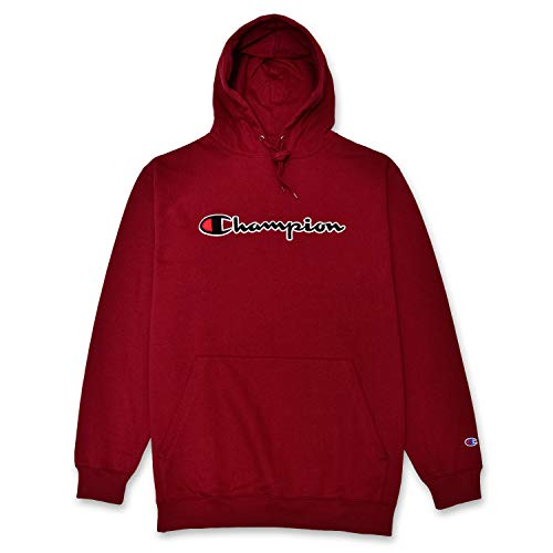 Champion Mens Big and Tall Hoodie Sweatshirt with Embroidered Script Logo Burgundy XLT