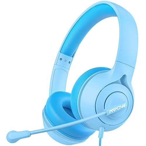 Mpow LH1 Kinderkopfhörer mit Mikrofon, Online-Lernkopfhörer für Kinder mit 94 dB Lautstärkebegrenzung, Stereoton, 3,5-mm-Audiobuchse für Smartphone, Tablet, Kindle, PC, Schule, Reisen