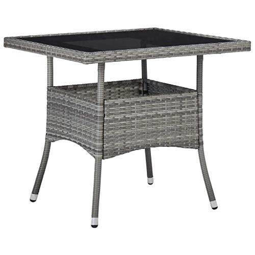 vidaXL Gartentisch für 4 Personen Esstisch Terrassentisch Balkontisch Rattantisch Gartenmöbel Tisch Grau Poly Rattan Glas 80x80x75cm
