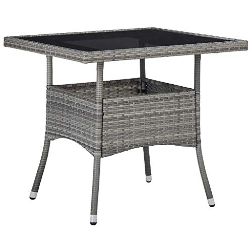 vidaXL Outdoor Dining Table Home Garden Bistro Backyard Patio Balcony Deck Picnic Bar Dining Meal Furniture Grey Poly Rattan and Glass