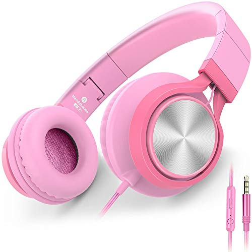 AILIHEN C8 Girls Wired Headphones with Microphone and Volume Control Folding Lightweight Headset for Cellphones Tablets Smartphones Chromebook Laptop Computer PC Mp3/4 (Pink)