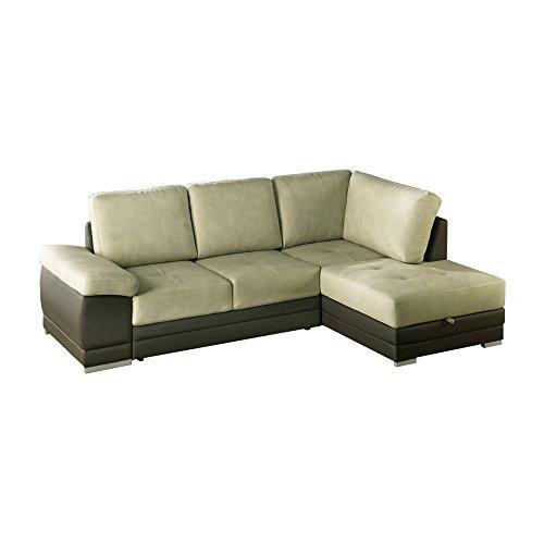 Casarreda Divano letto angolare mod. VENEZIA con chaise lounge dx bicolor ecopelle panna/tessuto tortora
