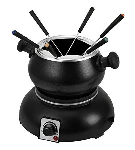 Team Kalorik elektrische set, 1,2 l inhoud, inclusief 6 fondue-vorken, 1200 W, zwart, TKG FO 1002, metaal, kunststof, antiaanbaklaag, 1,2 liter