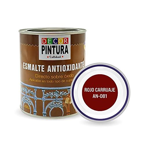 Pintura Rojo Carruaje Real Antioxidante Exterior para Metal minio Pinturas Esmalte Antioxido para galvanizado, hierro, forja, barandilla, chapa para interiores y exteriores - Lata 750ml