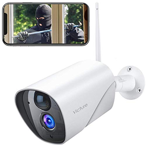 Victure 1080P Outdoor Security Camera IP65 Weatherproof Home Surveillance IP CCTV Camera 2.4G WiFi with Smart PIR Motion Detection/Night Vision/Two Way Audio Compatible with iOS & Android Systerm Bullet Cameras