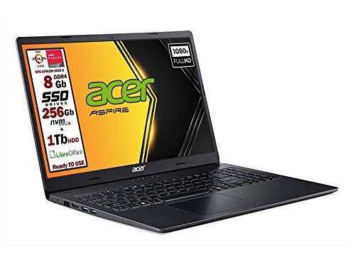 Acer Notebook Athlon 3050u, ram 8 Gb Ddr4, SSD M.2 PCi da 256Gb + 1 Tb, Display Full HD da 15,6 pollici, web cam, usb, hdmi, bt, Win10 Pro, Libre Office, Pronto all'uso layout e Garanzia Italia