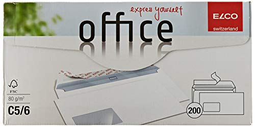 ELCO Office Umschlag DIN lang 80 g/m² FSC-zertifiziert mit Haftverschluss und Sichtfenster 90 x 45 mm in Shop-Box 200 Stück weiß