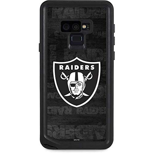 Skinit Waterproof Phone Case Compatible with Galaxy Note 9 - Officially Licensed NFL Las Vegas Raiders Black & White Design