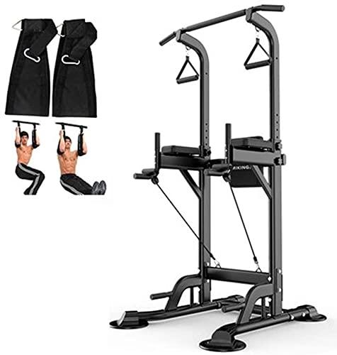 Torre de potencia de gimnasio, altura ajustable Tire de la altura y la estación de inmersión, equipos de ejercicio ajustables, para el entrenamiento de fuerza, ejercicio abdominal de entrenamiento, pa