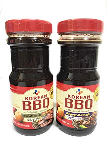 [ Pack of 2 ] Cj Korean BBQ Original Sauce, (1) Kalbi Marinade for Ribs/ (1) Bulgogi Marinade, 29.6 oz Bottle