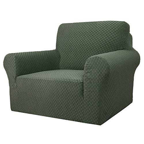 MAXIJIN Fodere per sedie più recenti per Soggiorno, Fodera per Sedia in Jacquard Super Elasticizzato con braccioli per Cani Fodera per Poltrona 1 Pezzo per Divano (1 Posto, Army Green)