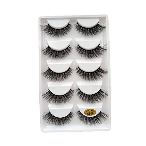5Pairs 3D falschen Wimpern handgemachte Mink Lashes Dramatic Thick Gewirr Deluxe Artificial Lashes Natur Fluffy Wimper Weiche Wiederverwendbare Wimper für Frauen Make-Up (G806) Makeup Supplies