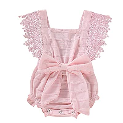 WOCACHI Toddler Baby Girls Romper Newborn Infant Bowknot Flutter Sleeve Ruffles Backcross Bodysuit Outfits , Pink, US 18M from WOCACHI