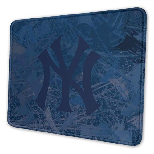 LOCPM LICOPC Yankees_De_New_York Mouse Pad with Edge Stitching Texture (Multiple Sizes), Non-Slip Rubber Base Mouse Pad, Suitable for Laptops, Computers and Desks 7.9 X 9.5 in Black
