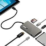 LINKUP Microsoft Surface GO との互換性 - HDMI 4K ハブ アダプター 1x SD +1xマイクロ SD/TF カード+1x USB-A 3.0 ポート+ 1x USB-C 3.1 データポート+ギガビットLAN+HDMI+SATA3 6Gbps 2.5 SSD ハードドライブ対応