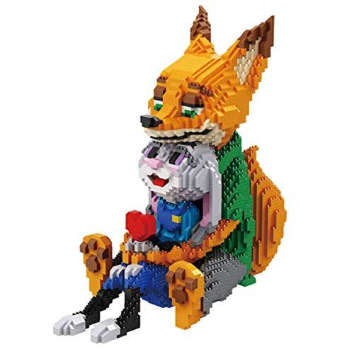 Mr.LQ Fuchs Holding Kaninchen bausteine Nano Miniatur bausteine 3D Puzzle DIY Spielzeug Modell Ziegel Spielzeug, Kinder bausteine