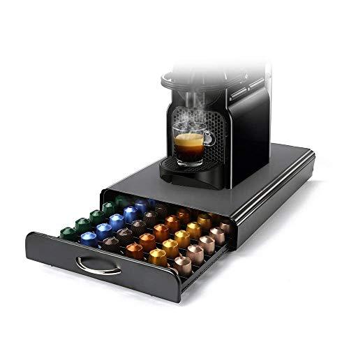 HiveNets Nespresso Cajón para Almacenar Cápsulas de Café Portacápsulas Soporte con Metal para 60 Pcs