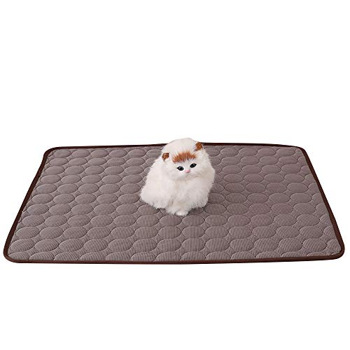 ZEJEUER Pet Cooling Mat Self Cooling Ice Silk Pad Summer Sleeping Bed for Dogs Cats GS007 (S, Coffee)