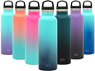 Simple Modern 32oz Ascent Water Bottle - Hydro Vacuum Insulated Tumbler Flask w/Handle Lid - Double Wall Stainless Steel Reusable - Leakproof Ombre: Bermuda Deep