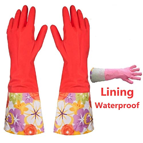 Sport Glass Kitchen Rubber Dishwashing Cleaning Gloves with Warm Lining,1 Pair