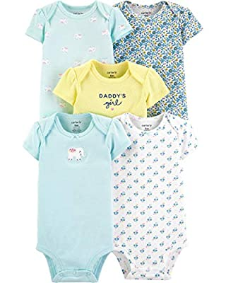 Carter's Baby Girls' 5 Pack Bodysuits (Turquoise/Yellow/Elephant, 6 Months)