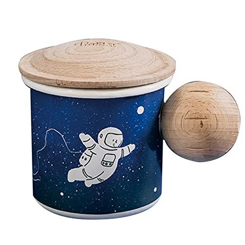 XDYNJYNL Copas de cerámica creativas con tapa de madera, patrón de astronauta taza de café taza de leche con tumblers de mango aislado bebiendo porcelana recta gran regalo para batido, 13.52oz / 400ml