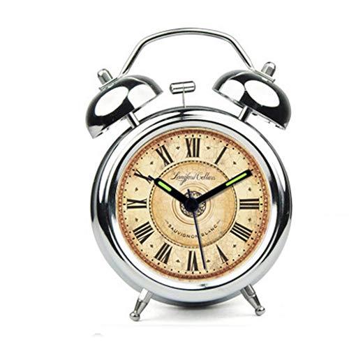 YULAN Oro y Plata Reloj Despertador Snooze Silencio Lazy Night Light Double Bell Cama Simple Hermosa Personalidad Creativa Inicio 2 Color Opcional 11.5CM * 5.5CM * 16.5CM (Color : Silver)