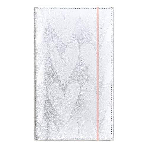 Caroline Gardner Travel Wallet, Reisebrieftasche, Silber mit geprägten Herzen