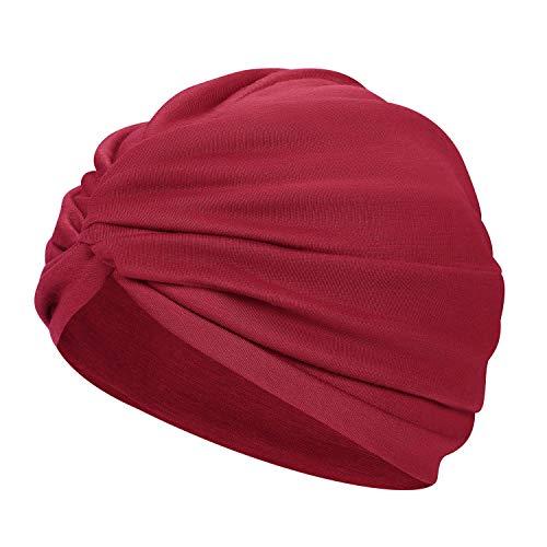 2 pezzi cappello da donna in cotone a forma di croce elastico Beanie turbante perdita di capelli notte sonno Cap Turbante per donne e ragazze cachi Taglia unica