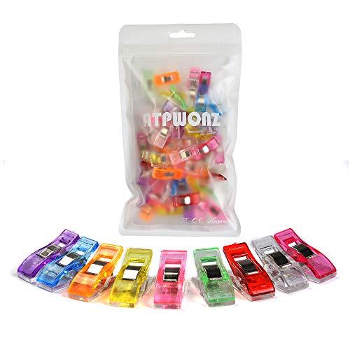 ATPWONZ 60pcs Clips de Ostura - Craft Clips Milagro Multicolor Abrazadera Plástico Perfecto para Bordado/Costura/Ganchillo,etc (Color Mezclado)