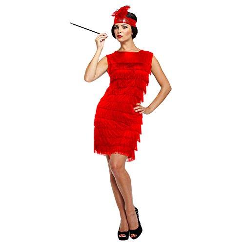 P'tit Clown 90264 kostuum voor volwassenen, jurk Charleston, eenheidsmaat Eén maat Rood