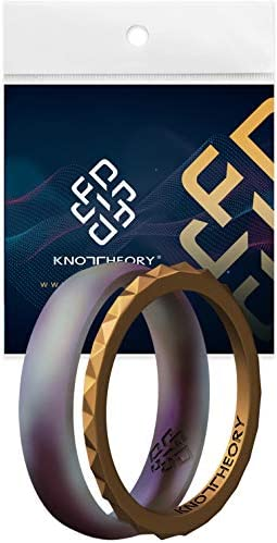 Knot Theory Star Frost Purple Gold Stackable Silicone Rings Size 7 Rubber Wedding Bands for product image