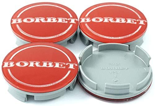 4x Original Borbet Nabendeckel | Felgendeckel | Nabenkappe Rot Center Cap 55mm NEU!