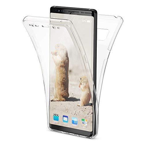 NALIA 360 Grad Handyhülle kompatibel mit Samsung Galaxy Note 8, Full Cover vorne hinten Doppel-Schutz, Dünnes Ganzkörper Hülle Silikon Etui Transparenter Bildschirmschutz und Rückseite, Farbe:Transparent