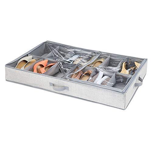 iDesign 05303EU Aldo Unterbett-Schubkasten für Schlafzimmer, 91,4 x 53,3 x 12,7 cm, grau, Polypropylen Stoff, 12 Fächer