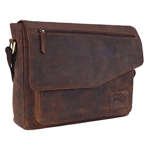 TUSC Triton Braun Leder Tasche Laptoptasche 14 Zoll 156 Zoll Herren Umhangetasche Aktentasche Schultertasche fur Buro Notebook Messenger Bag Laptop iPad Grose 39x30x9 cm