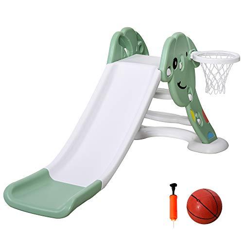 HOMCOM Tobogán Infantil con Canasta de Baloncesto para Niños de +2 Años Juguete Interior y Exterior Carga 25 kg Accesorios Incluidos 160x35x68 cm Verde