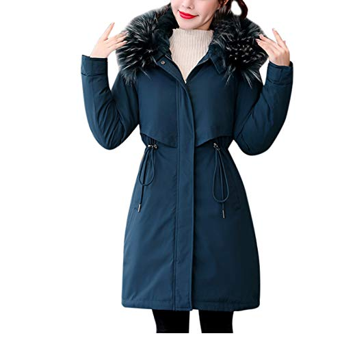 Janly Clearance Sale Abrigo para mujer, ropa de abrigo larga acolchada de algodn, abrigos con capucha, para invierno, Navidad (azul oscuro-L)