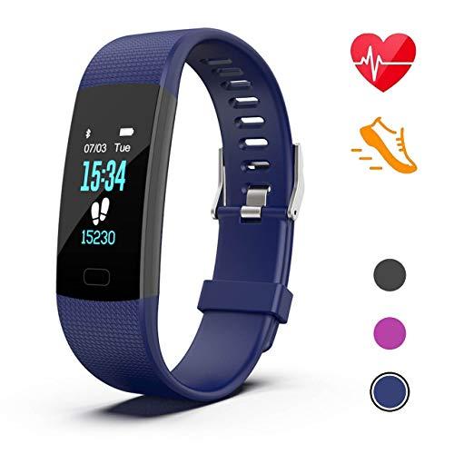 Fitness Armband Wasserdicht IP67 Fitness Tracker Smartwatch Aktivitätstracker Pulsuhr Schrittzähler Uhr Sportuhr für Damen Herren Anruf SMS Beachten für iPhone Android Handy (1 Jahr Garantie) (Blau)