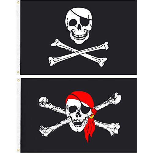 Tatuo 2 Pieces Pirate Flag Jolly Roger Skull Pirate Flag Crossbones Pirate Flag Halloween Decoration Flags for Pirate Party Halloween Birthday Decorations and Gifts (3 by 5 Feet)