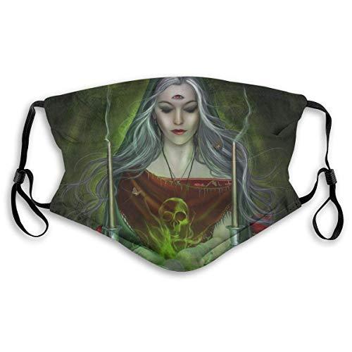Halloween verstelbaar Earloop gezichtsmasker heks met 3 ogen stofdicht veiligheidsmasker met 2 st. Actief koolstoffilter.